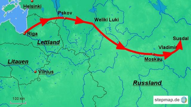 Über Pskov und Welikiye Luki nach Moskau