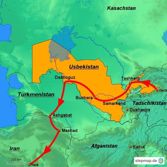 Die vorgesehene Route in Turkmenistan