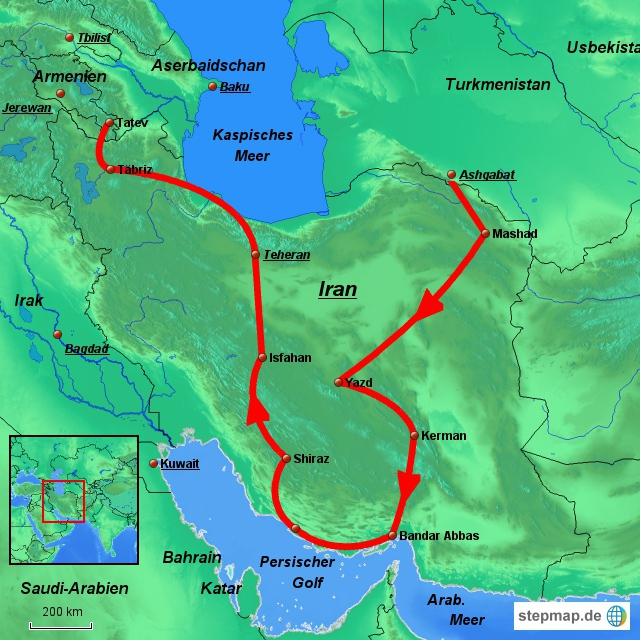 Die vorgesehene Route im Iran