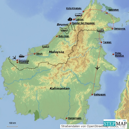 Wir landen in Kuching, das gehört zu dem Malaysia-Teil--von hier gehts über das Sultanat  Brunei in den indonesischen Teil gehen....so der Plan...