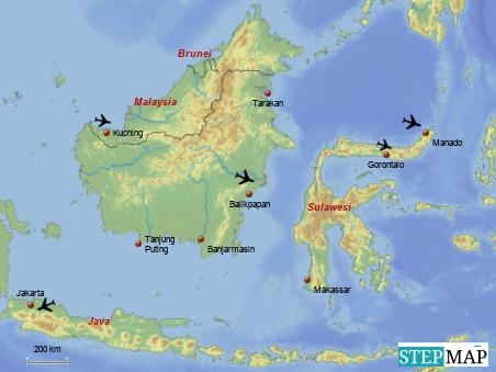 Außer den beiden Hauptflügen haben wir schon folgende Weiterflüge gebucht: Von Bangkok nach Kuching Von Tarakan nach Balikpapan Von Balikpapan nach Manado Von Manado nach Gorontalo Von Makassar nach Jakarta Von Jakarta nach Bangkok