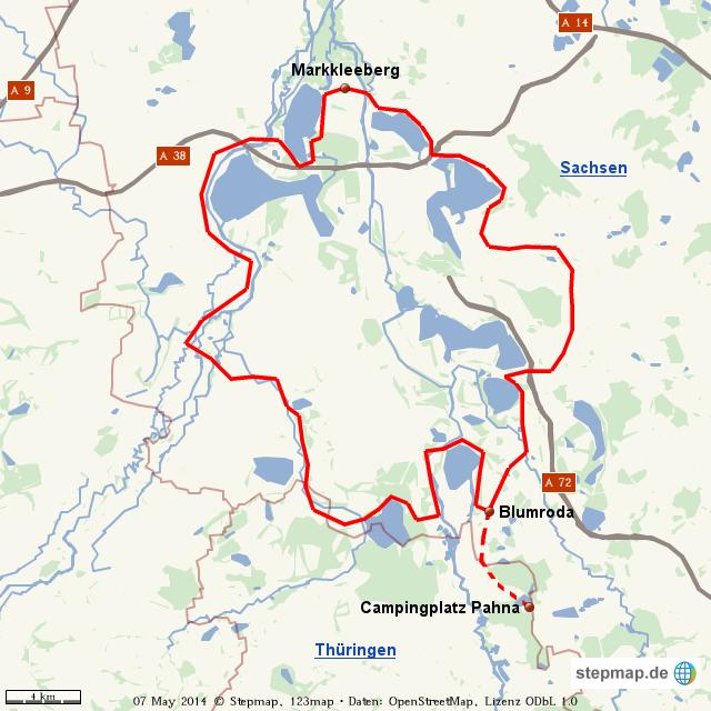 leipziger neuseenland karte Neuseenland Radroute | Fahrradtouren in Deutschland