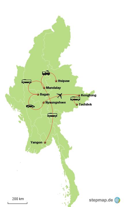 Reiseroute Myanmar April 2014