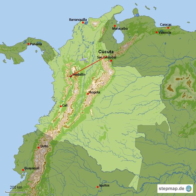 Unser Flug von Cúcuta nach Medellin...