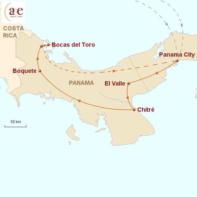 Routenkarte zur Reise Best of Panama