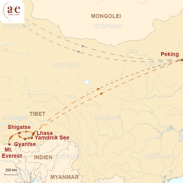 Routenkarte zur Reise Auf den Spuren berühmter Bergsteiger