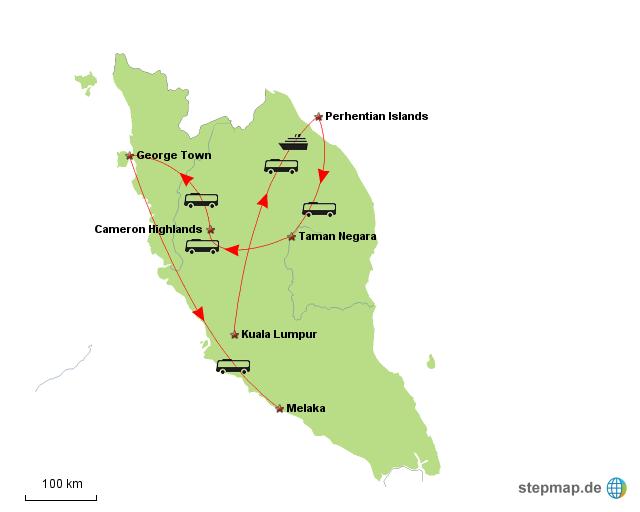 Reiseroute Malaysia