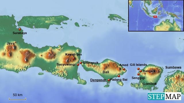 Übersichtskarte Ostjava, Bali & Lombok