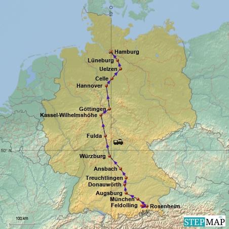 Anreise in den Norden: Von Feldolling nach Rosenheim per Rad, der Rest mit Zug