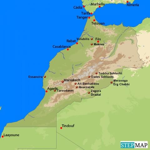 Marokko Reisen Landkarte