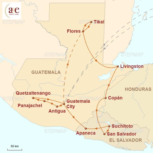 Routenkarte zur Reise Bunte Welt der Maya