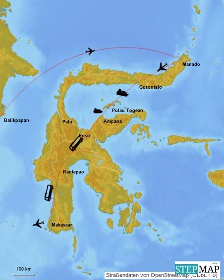 Unsere Route für Sulawesi: Wir landen in Manado. Dorthin kommt Giovanni nach einem langen Flug mit 2 Stopps von Deutschland-Berlin.