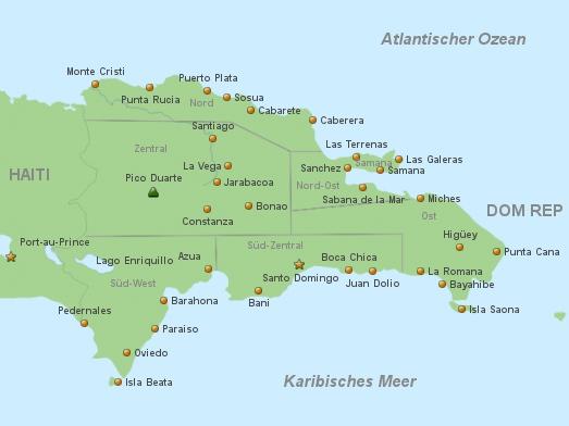 Landkarte Dom Rep Land & Leute