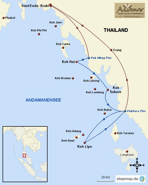 Thailand Karte Katalog Inselhüpfen Koh Sukorn, Koh Hai, Koh Ngai und Koh Lipe 2014