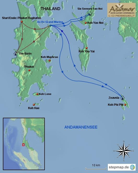 Thailand Karte Katalog Inselhüpfen Phuket, Koh Phi Phi, Koh Yao