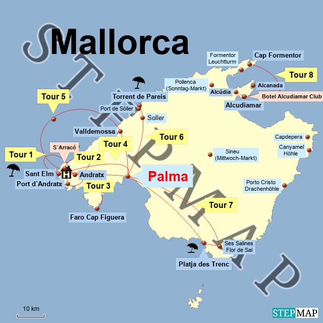 mallorca sehenswürdigkeiten karte Mallorca   Ausflüge und Sehenswürdigkeiten   LUPESI: Travel Routes