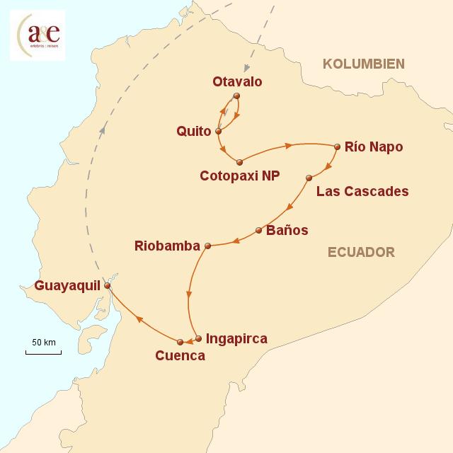 Routenkarte zur Reise Regenwald, Vulkane und Indiomärkte