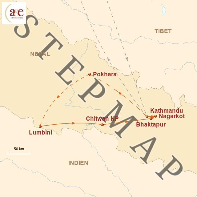 Routenkarte zur Reise Im Herzen des Himalaya