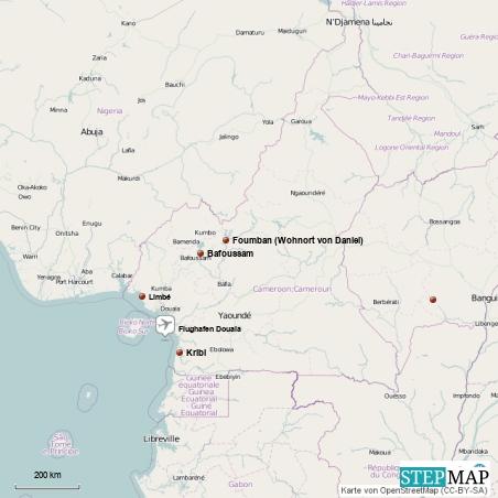 Übersicht über die besuchten Orte in Kamerun...