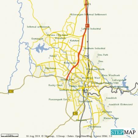 Übersichtskarte Windhoek