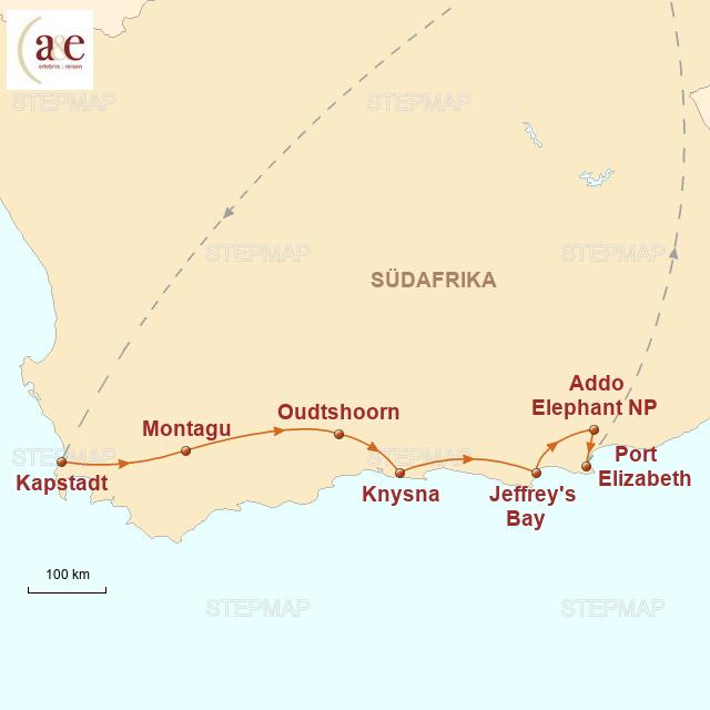 Routenkarte zur Reise Kapstadt & Garden Route
