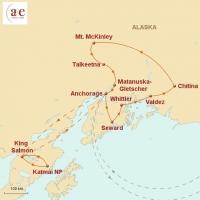 Routenkarte zur Reise Wildnisse Alaskas: Bären, Lachse, Gletscher
