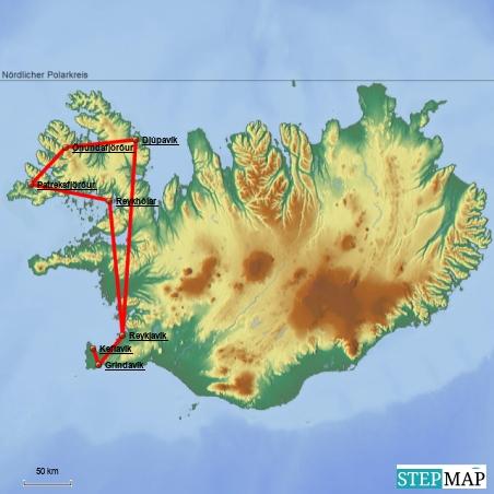 Die Karte täuscht: Da die Region im Nordwesten Islands von Fjorden durchzogen ist, sind die Fahrtstrecken alles andere als geradeaus. Aus 100 km Luftlinie werden schnell 300 bis 400 gefahrene Kilometer.