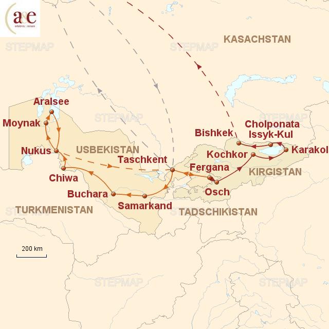 Routenkarte zur Reise Märchenhaftes Zentralasien – ZEIT REISEN