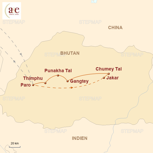 Routenkarte zur Reise Bumthang-Tal