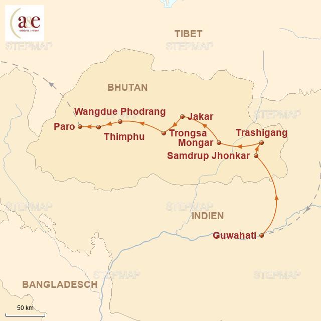 Routenkarte zur Reise Durchquerung von Ost nach West