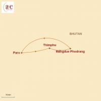 """Routenkarte zur Reise Trekking auf dem """"Druk Path Trek"""""""