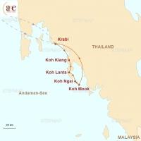 Routenkarte zur Reise Inselhopping in der Andaman-See
