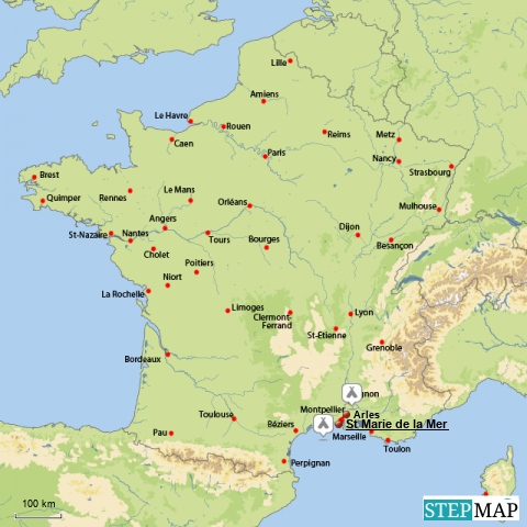 Camargue Karte.Camargue Und Arles Reisezeiten Wohnwagen Reisemobil Wir Sind