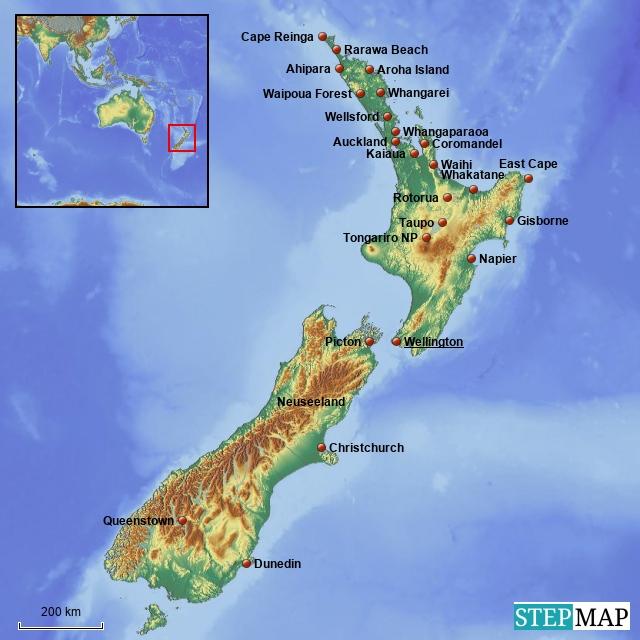Übersichtskarte Neuseeland