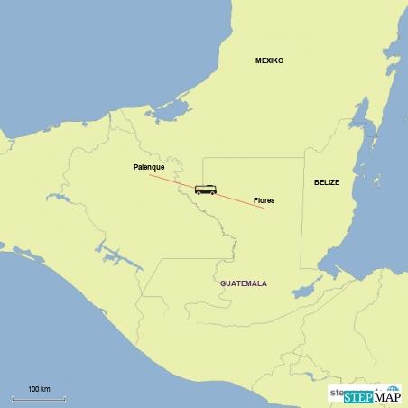 Die Fahrt von Flores/Guatemala nach Palenque/Mexiko