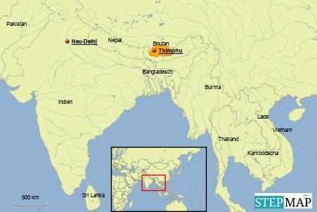 Die Lage von Bhutan im Himalaya lässt eine Radtour mit vielen Höhenmetern erwarten