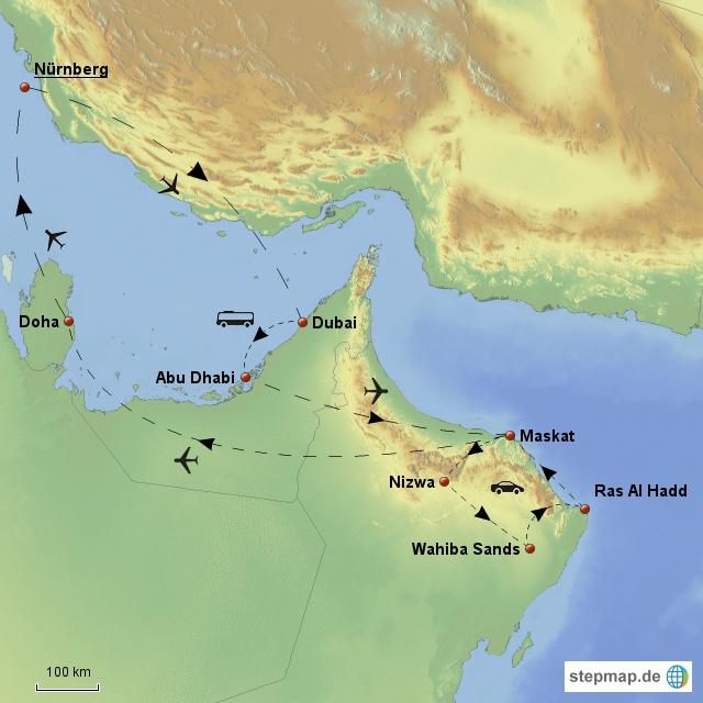 Route auf der Arabischen Halbinsel