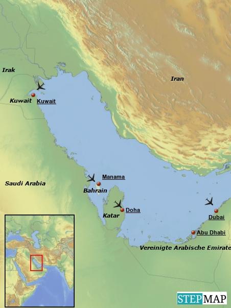 So ist die derzeitige Planung: Wir fliegen von Hannover nach Dubai, fahren von dort mt dem Express Bus nach Abu Dhabi, fliegen nach Kuwait, von Kuwait nach Bahrain, von Bahrain nach Katar und von dort wieder zurück nach Hannover