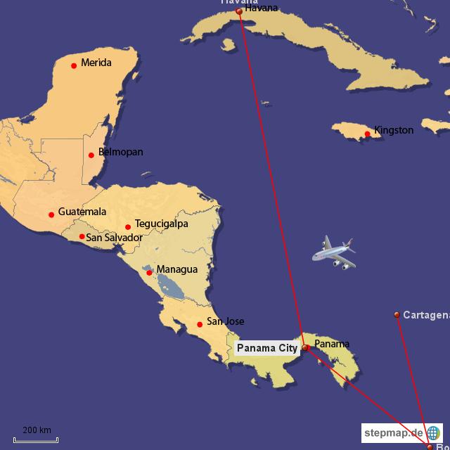 Unser Flug nach Kuba, umständlich aber billig  Wenn ich mal Zeit finde, werde ich die Karte schöner gestalten, bis dahin muss man sich Kolumbien unten halt dazudenken...