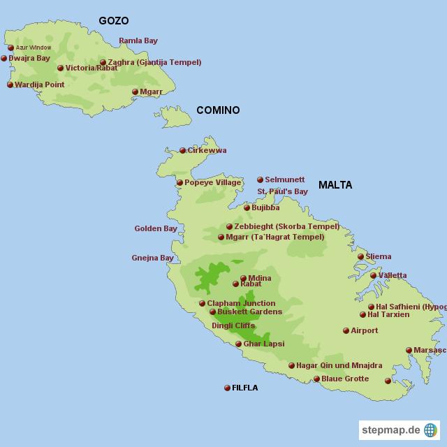 Der Staat Malta besteht aus der Inselgruppe Malta, Gozo und Comino