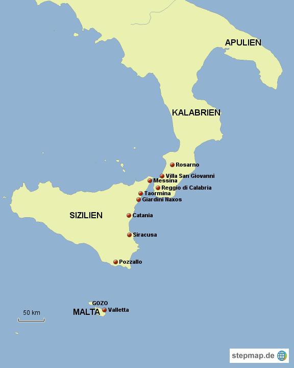 Anfahrt über Italien Süd (Apulien, Kalabrien, Sizilien) und dann vom Fährhafen Pozzella mit dem Schiff nach Valletta auf Malta