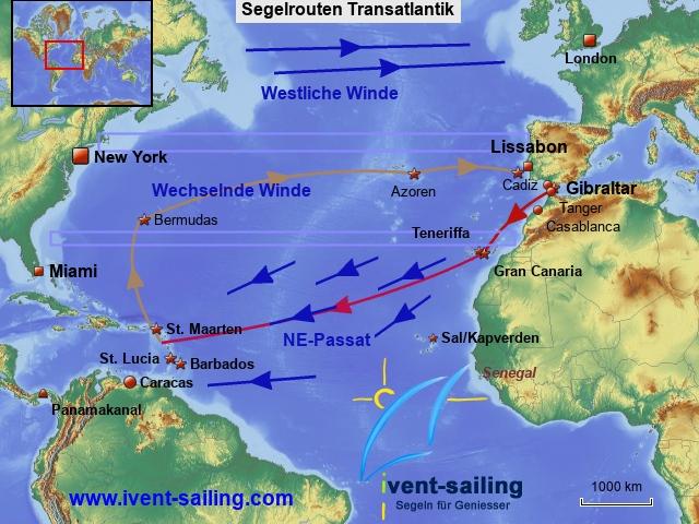 Segelrouten Transatlantik