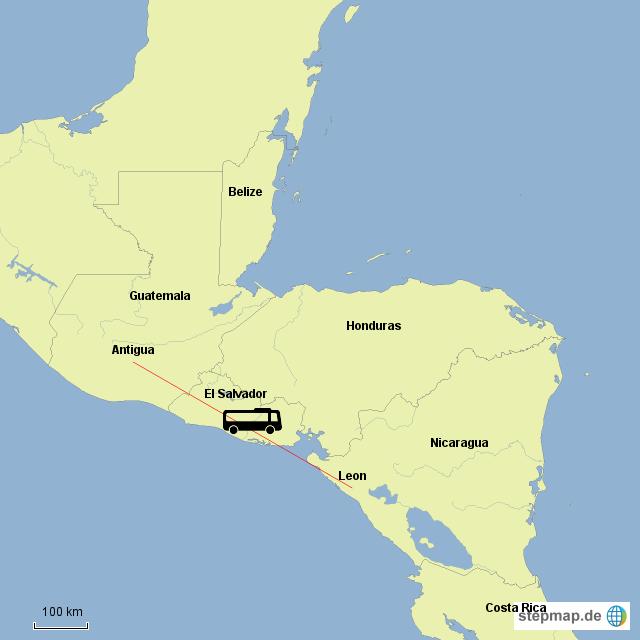 15stuendige Busfahrt von Guatemala nach Nicaragua
