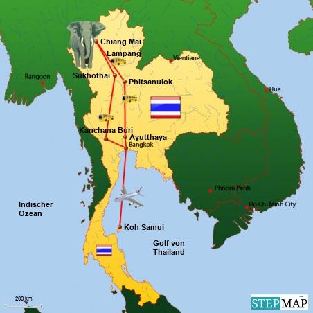 Unsere Reiseroute in Thailand