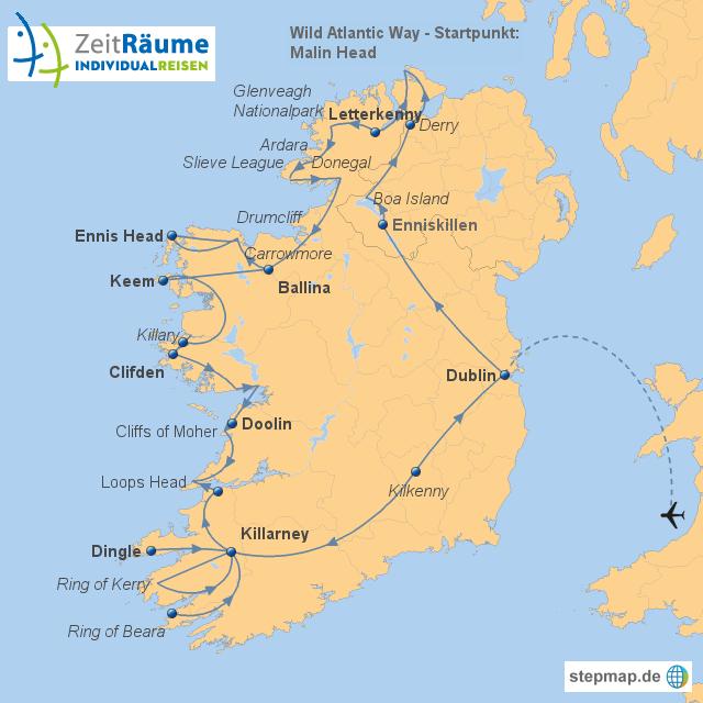 Irlands - Wild Atlantic Way mit Logo