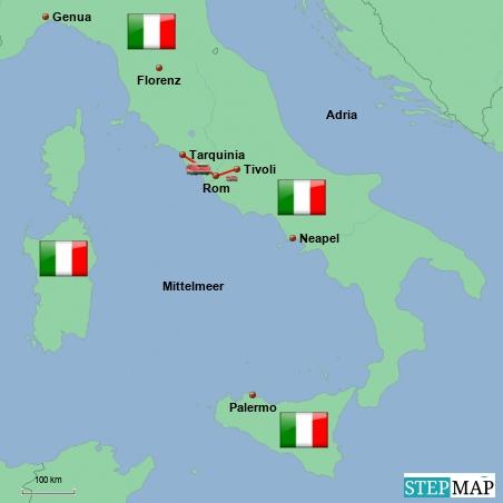 Meine Reiseroute durch die Region Lazio