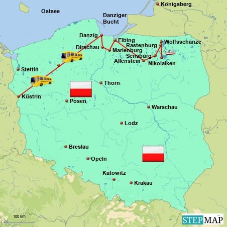 Meine Reiseroute durch den Süden von Ostpreußen