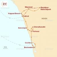 Routenkarte zur Reise taz.reise: Kerala – Backwaters, Dschungel, Bürgerrechte