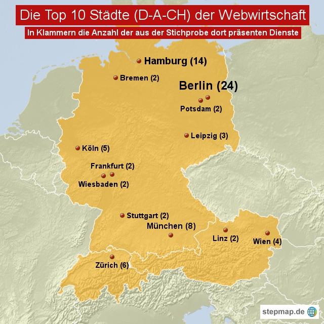 Die Top 10 Städte (D-A-CH) der Webwirtschaft