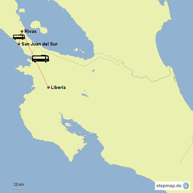 Fahrt von San Juan del Sur/Nicaragua nach Liberia/Costa Rica
